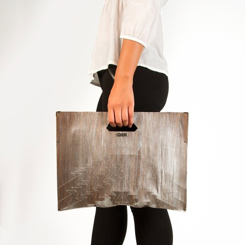 Clutch in Wood - Aztec with handle