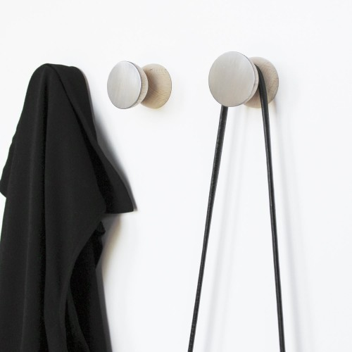 Double Wood & Aluminium Wall Hook- Set of 3