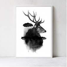 Black Deer Framed Print