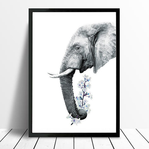 Flower Elephant Framed Print