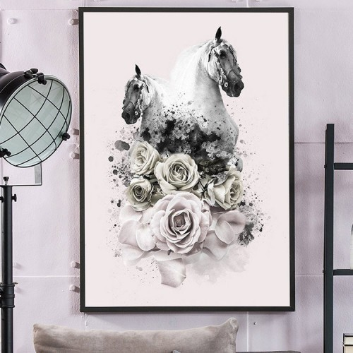 Twin Horses Framed Print