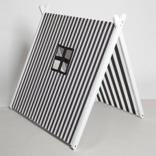 White Collapsible Play Tent -Black Stripes