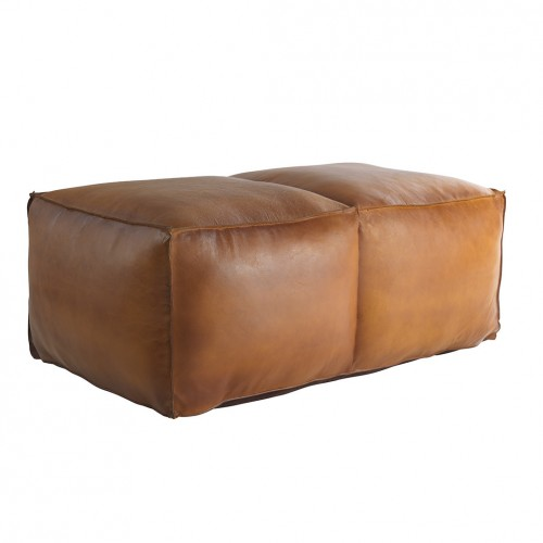 Memphis Large Leather Pouffe