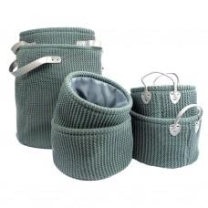 Grey Knitted Storage Bags 6pcs set