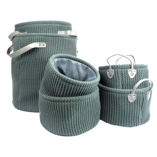 Grey Knitted Storage Bags 6pcs set