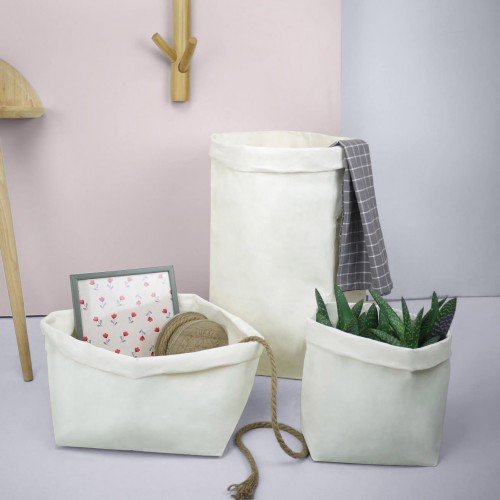 White Paper Bag Plant Pot