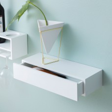 Wall Mounted White Drawer Shelf