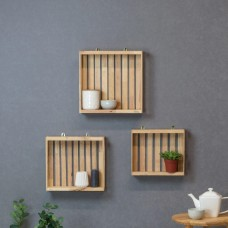 Wooden Grid Storage Box 3pc Set