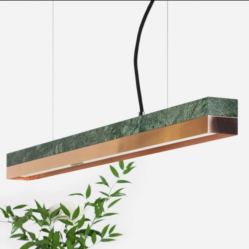 Small Green Marble & Copper Pendant Light [C2m]