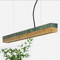 Small Green Marble & Oak Pendant Light [C2m]