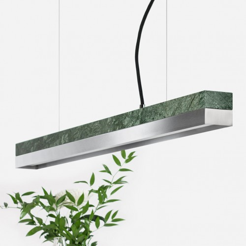 Small Green Marble & Steel Pendant Light [C2m]