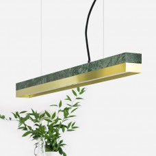 Small Green Marble & Brass Pendant Light [C2m]