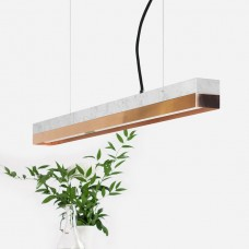 Small White Marble & Copper Pendant Light [C2m]