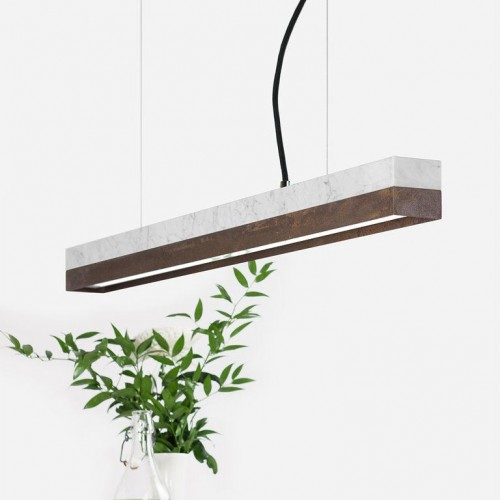 Small White Marble & Corten Pendant Light [C2m]