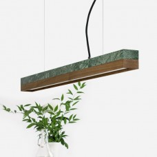 Small Green Marble & Walnut Pendant Light [C2m]