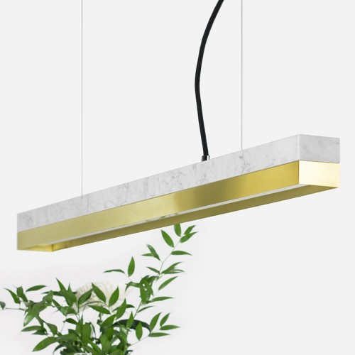 Small White Marble & Brass Pendant Light [C2m]