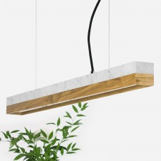 Small White Marble & Oak Pendant Light [C2m]