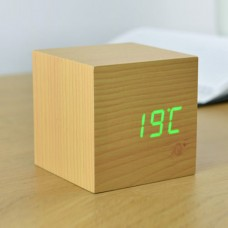 Cube Click Clock Wood LED