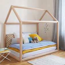 Chunky Wooden House Bed with Slats