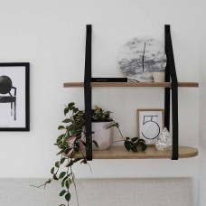 Two Tier Leather Strap Shelf
