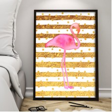 Flamingo In Golden Field Print