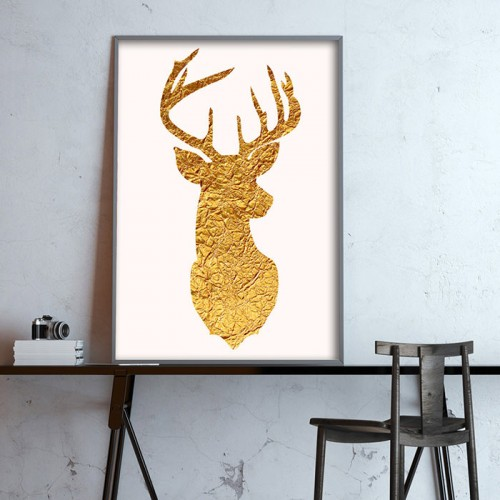 Golden Deer Print
