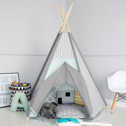grey blue teepee. Black Bedroom Furniture Sets. Home Design Ideas