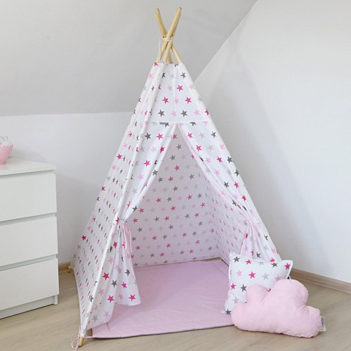White with Pink Stars Teepee
