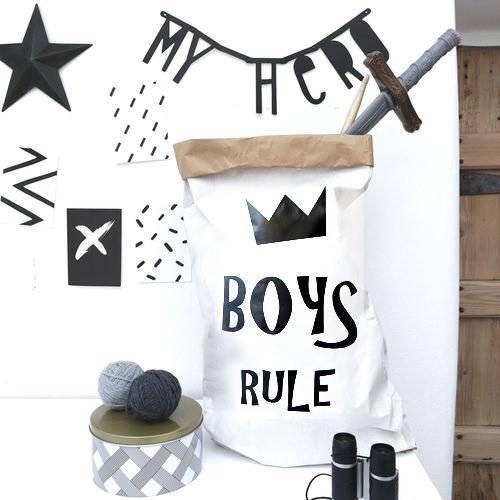 Boys Rule - Paper Storage Bag
