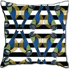 Blue Uccello Velvet Cushion