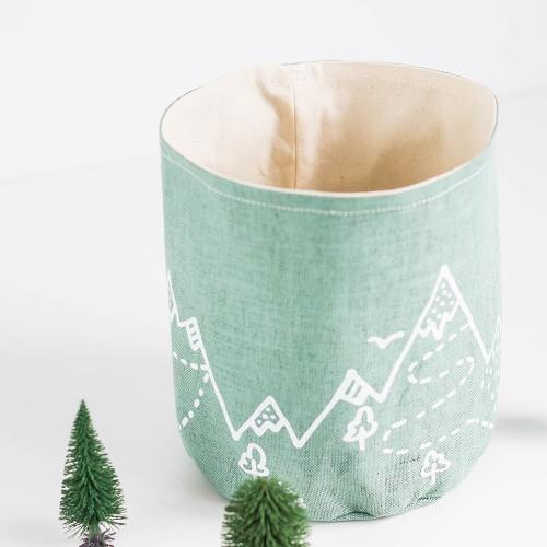 Mint linen basket - Mountains