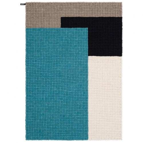 Geometric Blue Felt Rectangular Rug