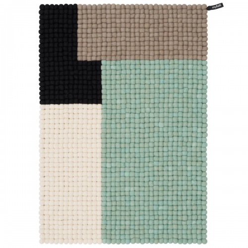 Geometric Mint Felt Rectangular Rug