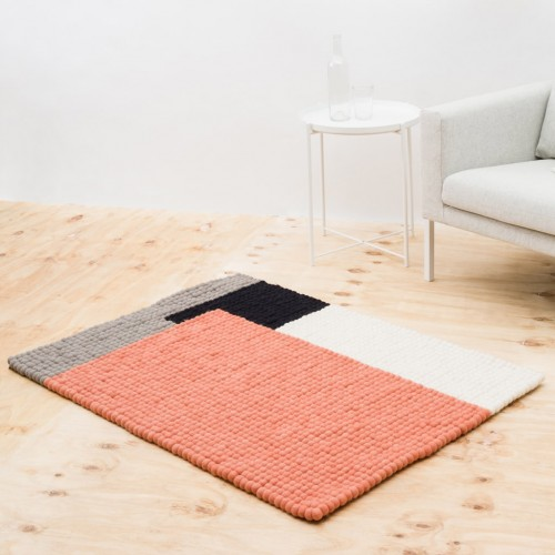 Geometric Salmon Felt Rectangular Rug