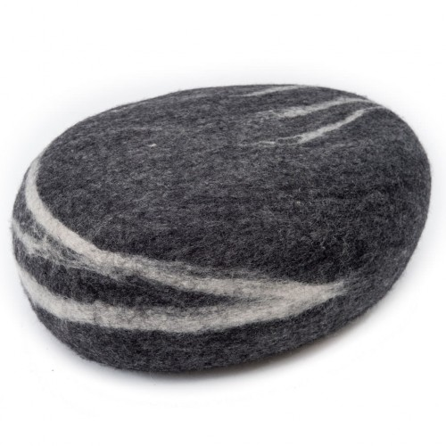 Hugo Dark Grey Felt Pouffe
