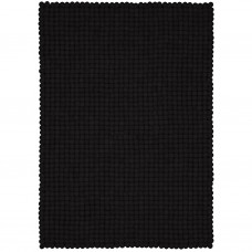 Nero Black Felt Rectangular Rug