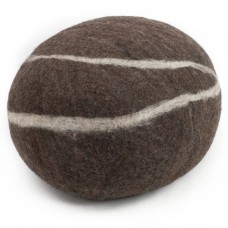 Oskar Dark Brown Felt Pouffe