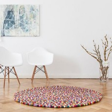 Multicoloured Felt Round Rug