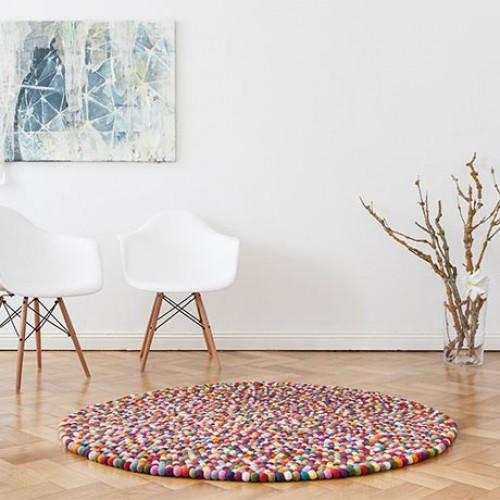 Multicoloured Felt Round Rug