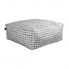 White Grid Pouffe