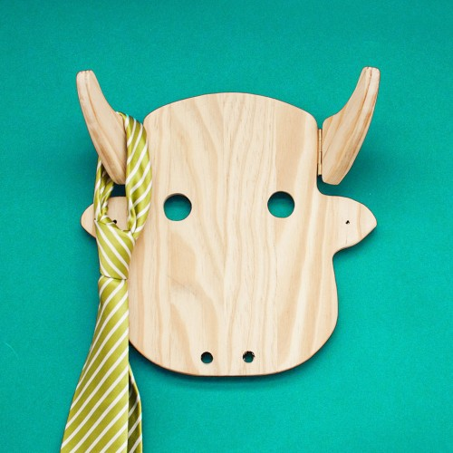 Wood cow wall coat rack