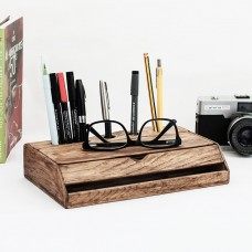 Vintage Wood Desk Organiser