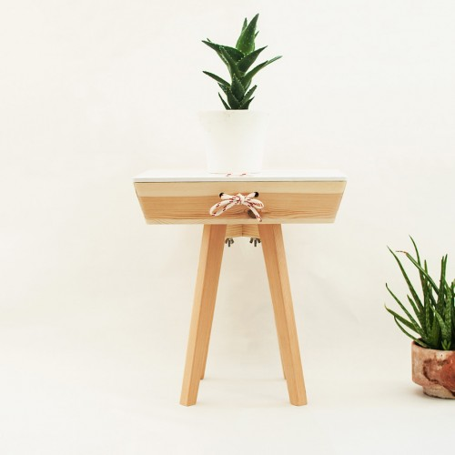 Natural Wood Side Table
