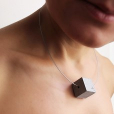 Single Concrete Cube Necklace