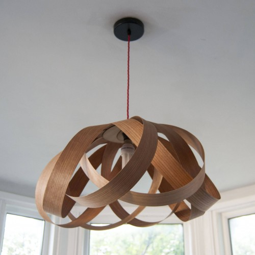 Daisy - Large Wood Veneer Lampshade with Cord