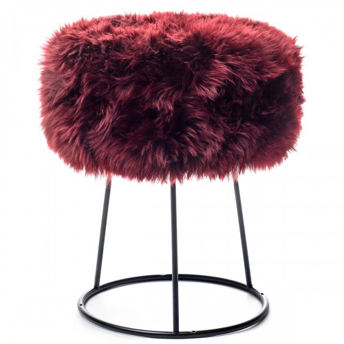 Burgundy Sheepskin Metal Stool