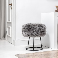 Grey Sheepskin Metal Stool