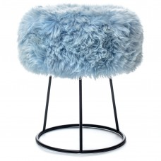 Blue Sheepskin Metal Stool