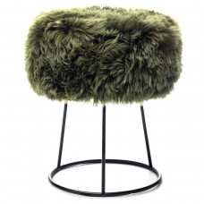 Olive Sheepskin Metal Stool
