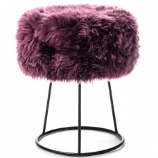 Plum Sheepskin Metal Stool